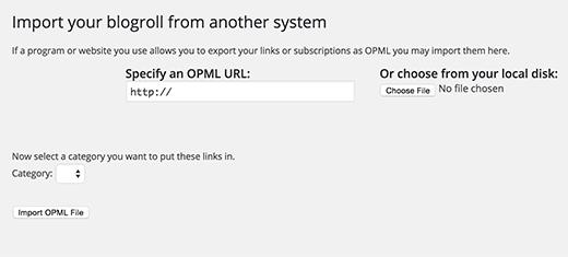 Nhập tệp OPML trong WordPress